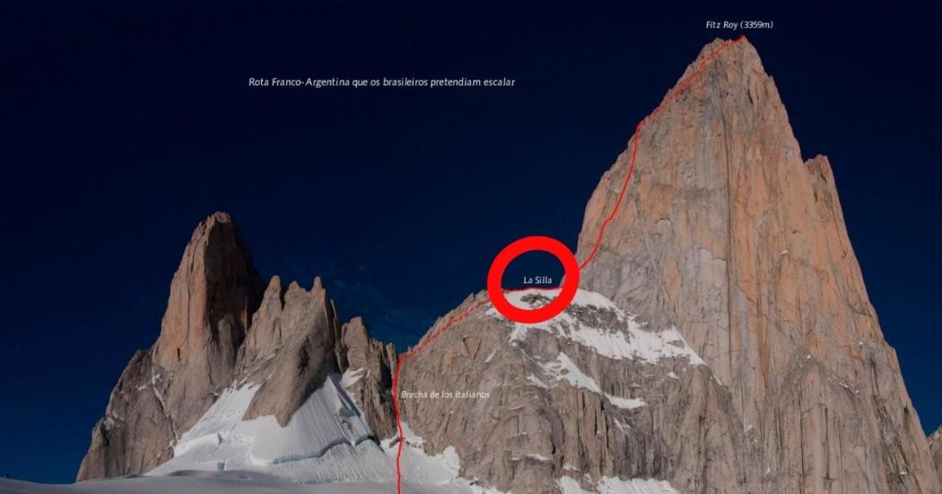 Rota Franco-Argentina que os brasileiros pretendiam escalar. Crédito: Divulgação