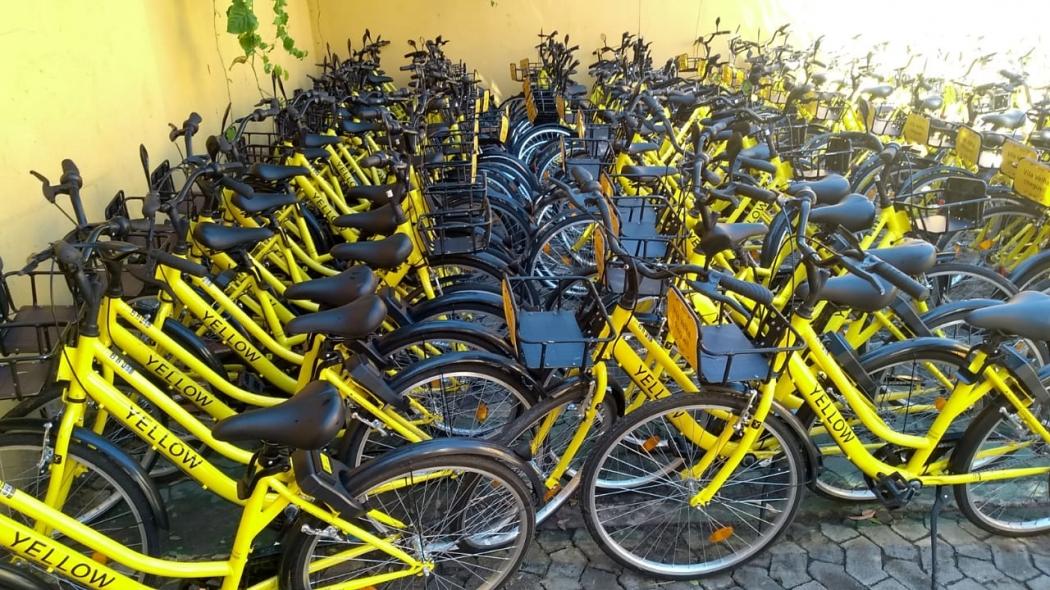 Bicicletas foram recolhidas e estão guardadas em um pátio da Prefeitura de Vila Velha. Crédito: Eduardo Dias