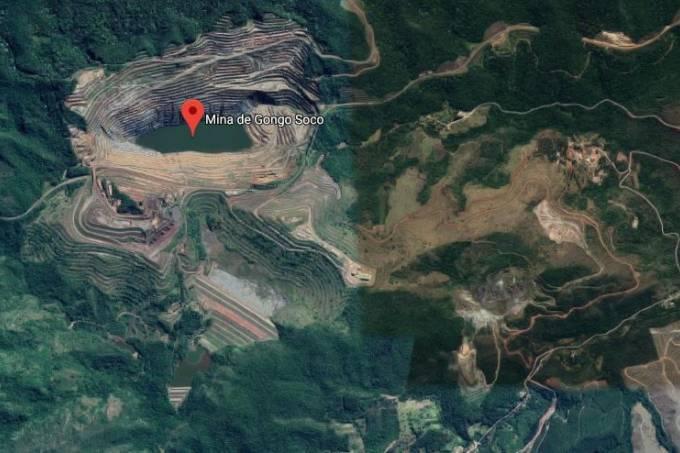 Barragem aérea da Minas Gongo Soco, em Barão de Cocais . Crédito: Google Maps