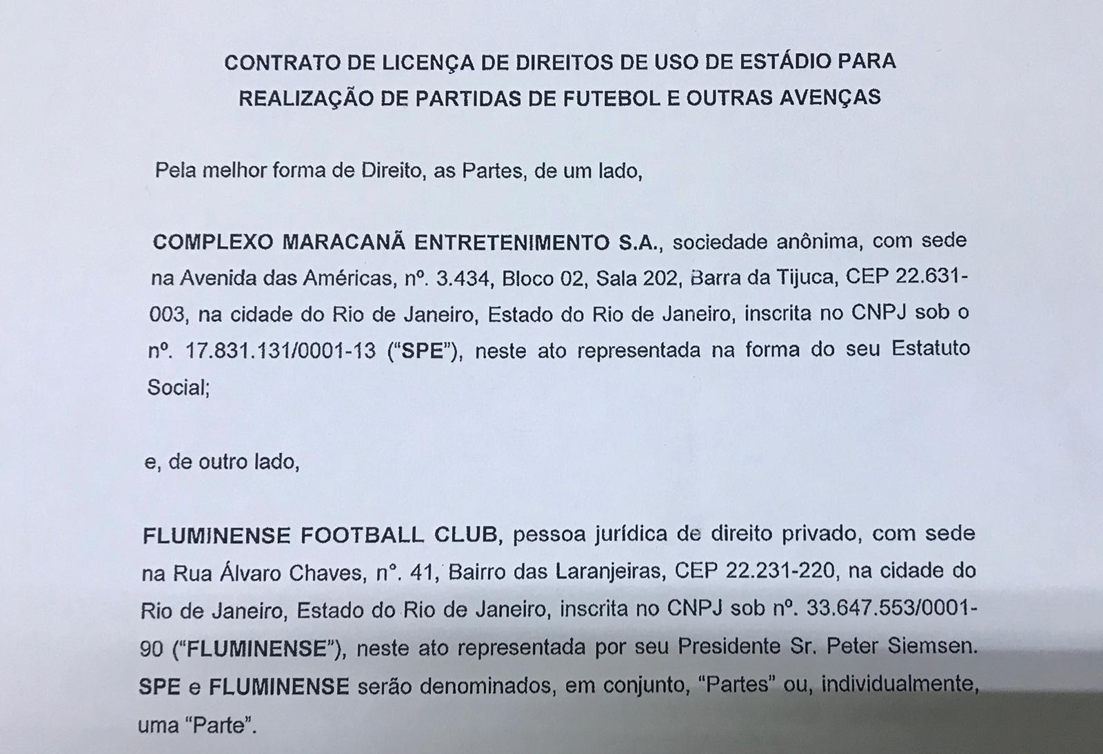 3f228f12cee4c LANCE! tem acesso a contrato entre Fluminense e Complexo Maracanã ...